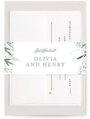 This is a portrait botanical, painterly, rustic, green Belly Bands by Creo Study called Blooming border with Foil Pressed printing on Signature Text in Belly Band Flat Card format. An ethereal frame of watercolor florals and foiled accents make beautiful ...