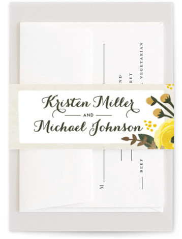 This is a yellow Belly Bands by Karidy Walker called English Floral Garden with Foil Pressed printing on Signature Text in Belly Band Flat Card format. This wedding invitation features garden blooms in soft colors, making it the perfect choice ...