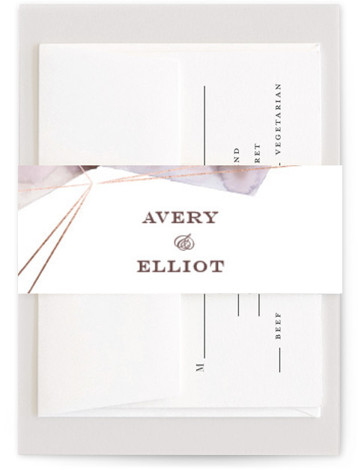 This is a abstract, modern, simple, purple Belly Bands by Kelly Ventura called Prism with Foil Pressed printing on Signature Text in Belly Band Flat Card format. Muted watercolor washes and hints of metallic make the perfect pairing for any ...