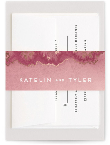 This is a modern, painterly, pink, rosegold Belly Bands by Kaydi Bishop called Sea Crest with Foil Pressed printing on Signature Text in Belly Band Flat Card format. Hand painted watercolor oceans waves with crests of gold.