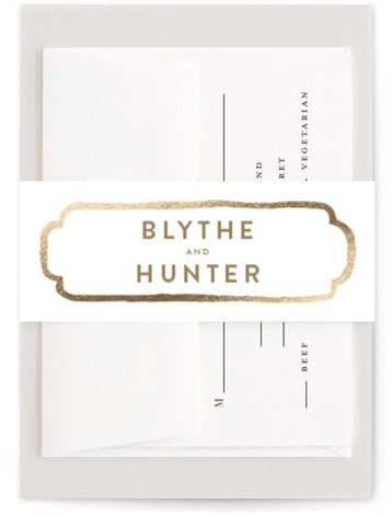 This is a bold and typographic, modern, brown, gold Belly Bands by Smudge Design called Avalon with Foil Pressed printing on Signature Text in Belly Band Flat Card format. This hand painted watercolor ampersand creates the perfect balance of modern ...