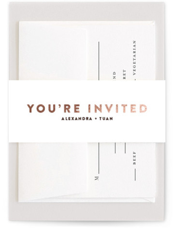 This is a red, rosegold Belly Bands by Up Up Creative called Outline with Foil Pressed printing on Signature Text in Belly Band Flat Card format. A minimalist wedding invitation topped with a sweet but not sappy hand drawn heart. ...