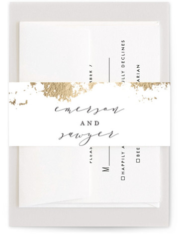 This is a hand drawn, rustic, black, yellow Belly Bands by Grace Kreinbrink called Aerial with Foil Pressed printing on Signature Text in Belly Band Flat Card format. Abstract modern wedding invitation featuring gilded earthy textures.
