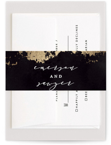 This is a hand drawn, rustic, black Belly Bands by Grace Kreinbrink called Aerial with Foil Pressed printing on Signature Text in Belly Band Flat Card format. Abstract modern wedding invitation featuring gilded earthy textures.