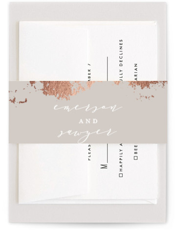 This is a grey Belly Bands by Grace Kreinbrink called Aerial with Foil Pressed printing on Signature Text in Belly Band Flat Card format. Abstract modern wedding invitation featuring gilded earthy textures.