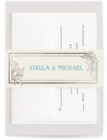 This is a blue Belly Bands by GeekInk Design called Antique Lines with Foil Pressed printing on Signature Text in Belly Band Flat Card format. Select a matching belly band to hold together your wedding suite and add the perfect ...