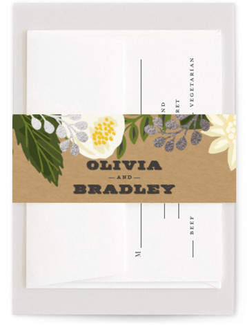 This is a yellow Belly Bands by Griffinbell Paper Co. called Floral Canopy with Foil Pressed printing on Signature Text in Belly Band Flat Card format. Select a matching belly band to hold together your wedding suite and add the ...