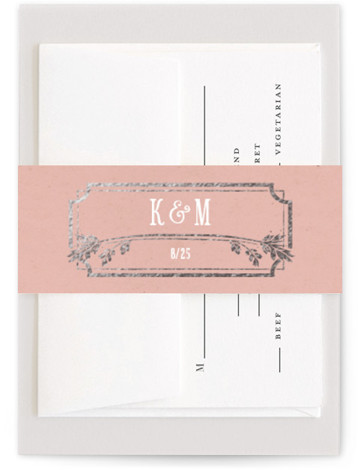 This is a bold typographic, hand drawn, vintage, pink Belly Bands by GeekInk Design called Inked with Foil Pressed printing on Signature Text in Belly Band Flat Card format. Unique type and hand drawn flourishes in an ink pen style ...