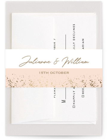This is a gold, pink Belly Bands by Juliana Zimmermann called Paint Splash with Foil Pressed printing on Signature Text in Belly Band Flat Card format. This wedding invitation features a rose gold paint splash.