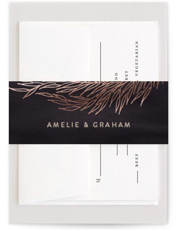 This is a botanical, purple Belly Bands by Erin L. Wilson called Vineyard with Foil Pressed printing on Signature Text in Belly Band Flat Card format. This invitation sets the tone for a rich and luxurious, formal affair.