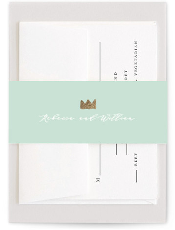 This is a simple and minimalist, gold, green Belly Bands by Susan Brown called The Crown with Foil Pressed printing on Signature Text in Belly Band Flat Card format. A bit of whimsy with classic calligraphy. So pretty.