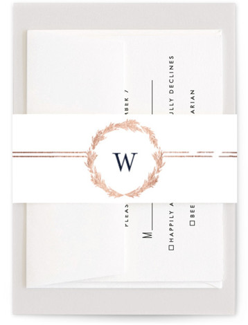 This is a bold and typographic, classic and formal, monogram, blue, rosegold Belly Bands by Phrosne Ras called Little Wreath with Foil Pressed printing on Signature Text in Belly Band Flat Card format. A simple foil design with a hand ...