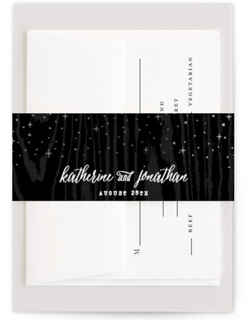 This is a illustrative, rustic, black, silver Belly Bands by Hooray Creative called Garden Lights with Foil Pressed printing on Signature Text in Belly Band Flat Card format. Select a matching belly band to hold together your wedding suite and ...