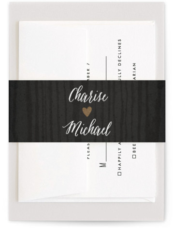 This is a rustic, black Belly Bands by Hooray Creative called Strands Of Lights with Foil Pressed printing on Signature Text in Belly Band Flat Card format. Select a matching belly band to hold together your wedding suite and add ...