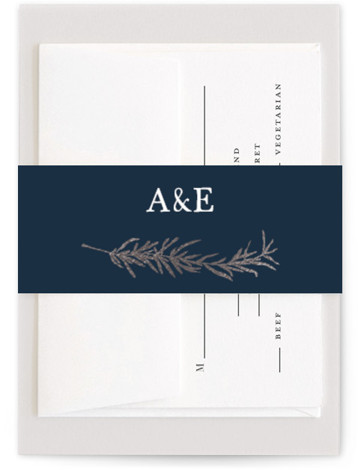 This is a botanical, illustrative, rustic, blue, silver Belly Bands by Erin Deegan called Simple Sprigs with Foil Pressed printing on Signature Text in Belly Band Flat Card format. Simple and traditional wedding invitation featuring sprigs of rosemary.