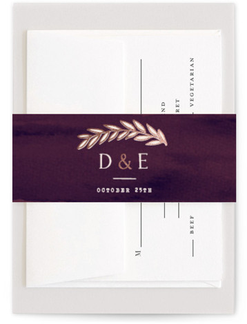 This is a floral, hand drawn, metallic, rustic, purple Belly Bands by Hooray Creative called Rustic Wreath with Foil Pressed printing on Signature Text in Belly Band Flat Card format. A rustic wreath in an autumn color palette – perfect ...