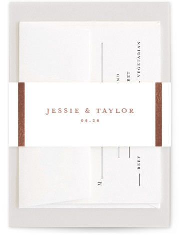 This is a rosegold Belly Bands by Stacey Meacham called Lasting love with Foil Pressed printing on Signature Text in Belly Band Flat Card format. A timeless wedding invitation with couples monogram, simple gold frame and restrained script details.
