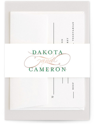 This is a classic and formal, simple and minimalist, green Belly Bands by Lehan Veenker called Classic Union with Foil Pressed printing on Signature Text in Belly Band Flat Card format. A classic yet modern wedding invitation featuring elegant type ...