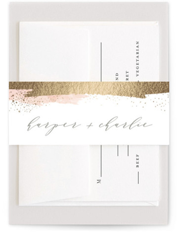 This is a pink, gold Belly Bands by Carolyn Nicks called Tide with Foil Pressed printing on Signature Text in Belly Band Flat Card format. This modern invitation features foiled brush strokes and dots reminiscent of a tide