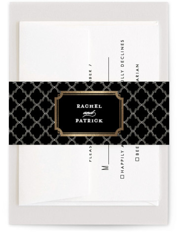 This is a classical, formal, modern, black Belly Bands by Sarah Brown called Luxe Border with Foil Pressed printing on Signature Text in Belly Band Flat Card format. Formal type and rich colors give this wedding invitation a bold yet ...