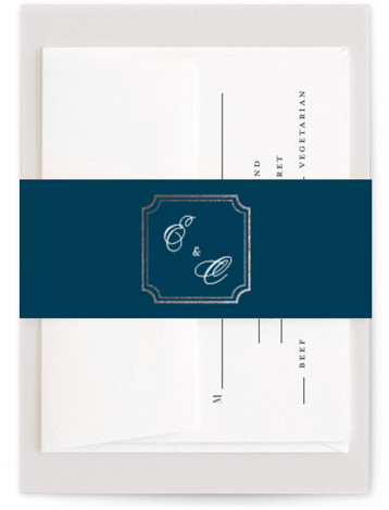 This is a blue, silver Belly Bands by Kimberly FitzSimons called Classy Type with Foil Pressed printing on Signature Text in Belly Band Flat Card format. An eye catching design with balanced typography, framed by an elegant border.