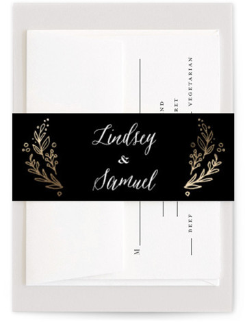 This is a botanical, rustic, black Belly Bands by Jennifer Wick called Painted Wreath with Foil Pressed printing on Signature Text in Belly Band Flat Card format. Select a matching belly band to hold together your wedding suite and add ...