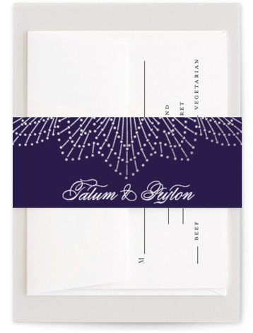 This is a vintage, purple Belly Bands by Chris Griffith called Wedding Sparkler with Foil Pressed printing on Signature Text in Belly Band Flat Card format. Gold foil sparkles surround an elegant oval that frames a formal wedding invitation