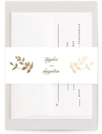 This is a gold Belly Bands by Jennifer Postorino called Daydream with Foil Pressed printing on Signature Text in Belly Band Flat Card format. This elegant offset wedding invitation features a whimsical branch and sophisticated topography.