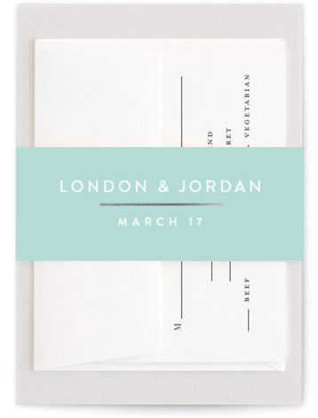 This is a preppy, blue Belly Bands by Jessica Williams called Simply Dapper with Foil Pressed printing on Signature Text in Belly Band Flat Card format. Modern blocks with minimal rose gold accents frame minimal text on this wedding invitation. ...
