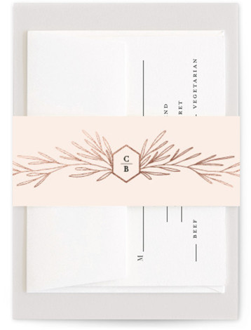 This is a botanical, pink, rosegold Belly Bands by Kelly Schmidt called Gilded Crest with Foil Pressed printing on Signature Text in Belly Band Flat Card format. Gold botanical details frame a crest featuring the bride and groom's initials in ...