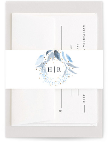 This is a botanical, traditional, blue, ivory, gold Belly Bands by Qing Ji called Monogrammed watercolor floral with Foil Pressed printing on Signature Text in Belly Band Flat Card format. Elegant wedding invitation featuring hand painted watercolor floral, with the ...