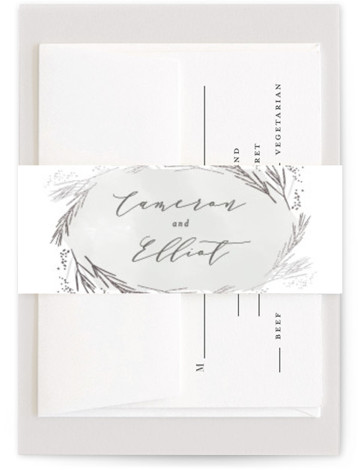 This is a botanical, rustic, traditional, grey, silver Belly Bands by Kristie Kern called Wheat Field with Foil Pressed printing on Signature Text in Belly Band Flat Card format. Wheat and organic elements create a beautiful backdrop for a country ...