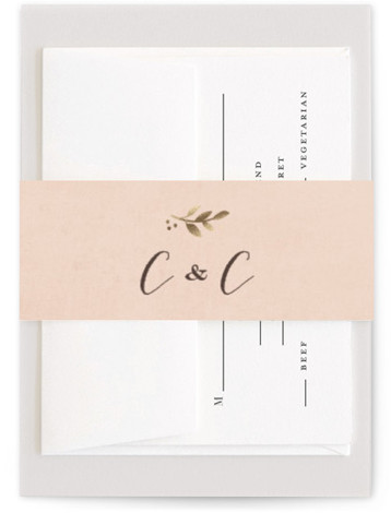 This is a classical, floral, metallic, pink, gold Belly Bands by Jennifer Wick called Sun Prints with Foil Pressed printing on Signature Text in Belly Band Flat Card format. Select a matching belly band to hold together your wedding suite ...