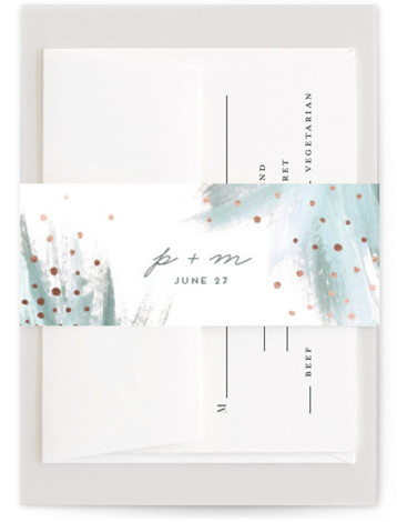 This is a bohemian, painterly, green, rosegold Belly Bands by Simona Camp called Shimmering Statement with Foil Pressed printing on Signature Text in Belly Band Flat Card format. This non photo wedding invitation design features a hand painted feathered background ...