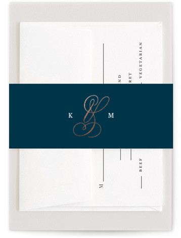 This is a blue, rosegold Belly Bands by Kimberly FitzSimons called Purity with Foil Pressed printing on Signature Text in Belly Band Flat Card format. A fresh and airy wedding invitation with an eye catching ampersand and simple, classic text. ...