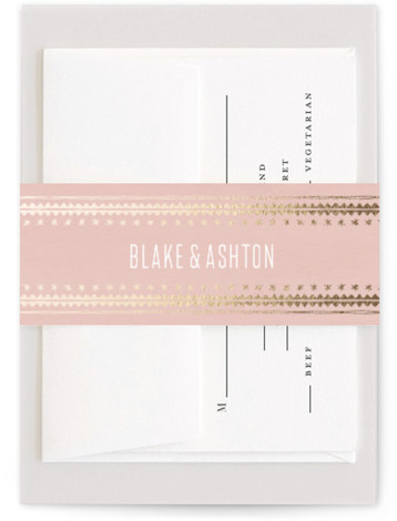 This is a bohemian, pink, gold Belly Bands by Carolyn Nicks called boho glam with Foil Pressed printing on Signature Text in Belly Band Flat Card format. This chic save the date features a foiled bohemian pattern with minimal and ...