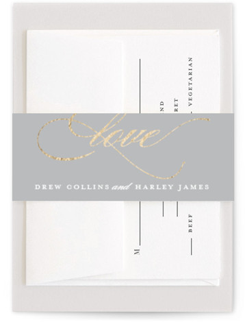 This is a traditional, grey Belly Bands by Stacey Meacham called So in Love with Foil Pressed printing on Signature Text in Belly Band Flat Card format. An elegant wedding invitation with large love calligraphy and romantic flourishes.