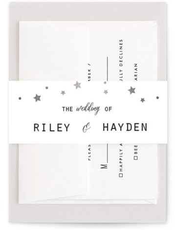 This is a hand drawn, rustic, black Belly Bands by Summer Winkelman called Mountain Sky with Foil Pressed printing on Signature Text in Belly Band Flat Card format. A wedding invitation for the nature enthusiast. A geometric landscape with a ...