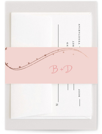 This is a pink, rosegold Belly Bands by Jody Wody called Enchanted Stars with Foil Pressed printing on Signature Text in Belly Band Flat Card format. A Disney themed wedding invitation without all the fuss. Subtle and elegant, this could ...