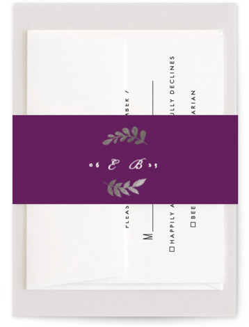 This is a purple, silver Belly Bands by Ariel Rutland called China Plate with Foil Pressed printing on Signature Text in Belly Band Flat Card format. Reminiscent of Grandmother's old china plates, this delicate design comes to life with bold ...