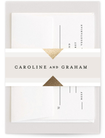 This is a geometric, grey, gold Belly Bands by Kristie Kern called Modern Angle with Foil Pressed printing on Signature Text in Belly Band Flat Card format. Select a matching belly band to hold together your wedding suite and add ...
