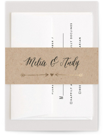 This is a black, brown, gold Belly Bands by Eric Clegg called With Joy with Foil Pressed printing on Signature Text in Belly Band Flat Card format. This invitation features trendy hand lettering on kraft paper.