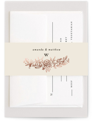 This is a beige Belly Bands by Phrosne Ras called Prettiest Wreath with Foil Pressed printing on Signature Text in Belly Band Flat Card format. A hand sketched wreath in a rich tan on pale pink.