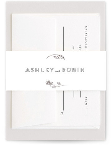 This is a botanical, silver, white Belly Bands by Phrosne Ras called Posies with Foil Pressed printing on Signature Text in Belly Band Flat Card format. Hand drawn roses in foil as a perfect frame.