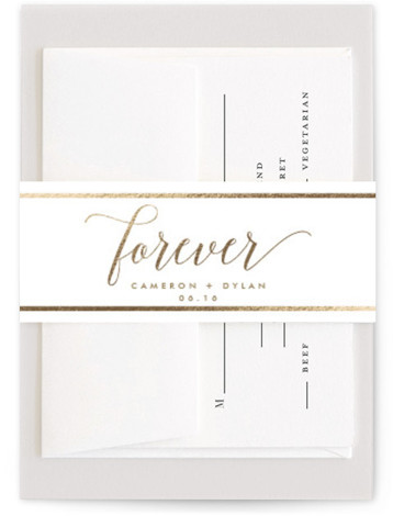 This is a gold Belly Bands by Jillanne Chimento called Foundry with Foil Pressed printing on Signature Text in Belly Band Flat Card format. Simple, elegant, and edgy. This wedding invitation will sure make a bold statement to your guests. ...