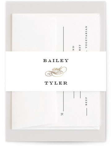 This is a traditional, black and white, gold Belly Bands by Kimberly FitzSimons called Structured Glamour with Foil Pressed printing on Signature Text in Belly Band Flat Card format. A classic. Elegant and timeless wedding invitation with a striking border ...