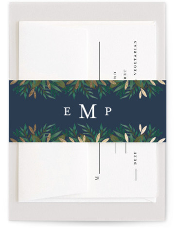 This is a botanical, blue, gold, green Belly Bands by Lehan Veenker called Verdure with Foil Pressed printing on Signature Text in Belly Band Flat Card format. Original hand drawn botanicals and touches of gold create a rich frame around ...