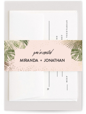 This is a botanical, gold, pink Belly Bands by shoshin studio called xanadu with Foil Pressed printing on Signature Text in Belly Band Flat Card format. Gilded palm + watercolor monstera create a luxe mid century vibe