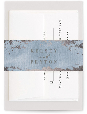 This is a modern, painterly, blue Belly Bands by Everett Paper Goods called Ethereal Wash with Foil Pressed printing on Signature Text in Belly Band Flat Card format. This wedding invitation features a minimalist composition with an hand painted background. ...