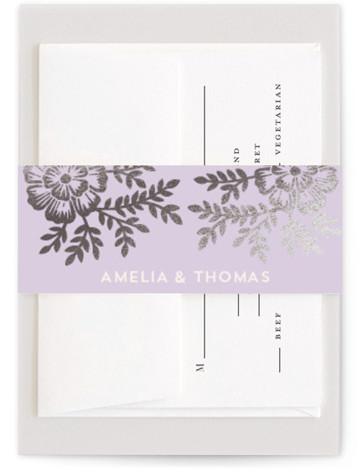 This is a botanical, rustic, purple, silver Belly Bands by Katharine Watson called Leaves and Kraft with Foil Pressed printing on Signature Text in Belly Band Flat Card format. Select a matching belly band to hold together your wedding suite ...